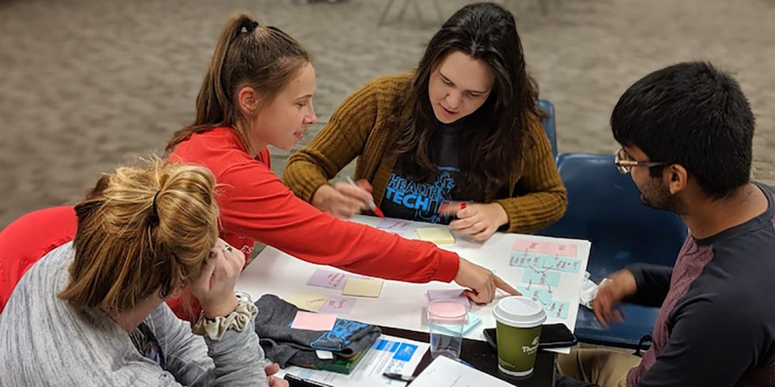 Students working together at the 2019 Health Tech Jam